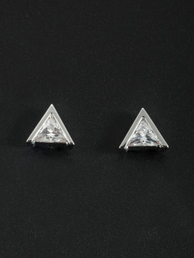 Triangle style with Platinum Plated Zircon Studs Earring