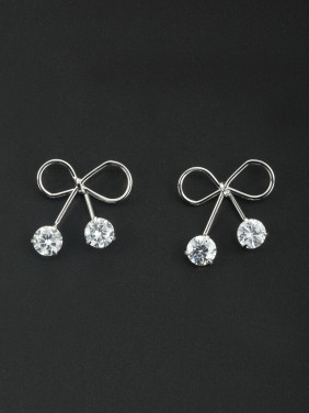 Butterfly Platinum Plated Zircon White Drop Earring