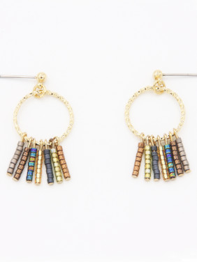 Personalized Copper Multi-Color Fringe  Drop Earring