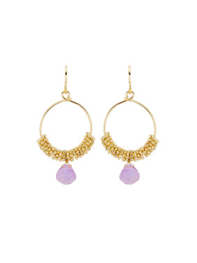 Gold Plated Copper Stone Purple Drop Earring