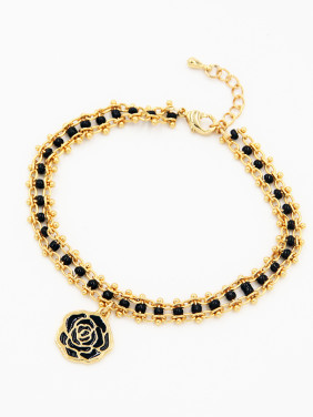 Personalized Gold Plated Black Personalized Beads Bracelet