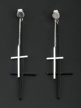 Platinum Plated Cross Multicolor Drop Earring