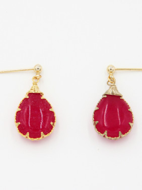 New design Gold Plated Face Stone Drop Earring in Fuchsia color