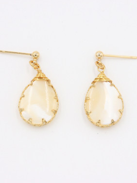 Face style with Gold Plated Stone Drop Earring