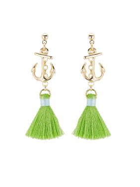 The new Gold Plated Copper  Drop Earring with Green