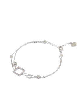 style with Silver-Plated Zinc Alloy Rhinestone Bracelet
