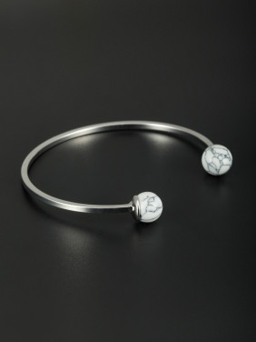Mother's Initial White Bangle with Round Stone