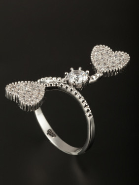 Platinum Plated Copper Heart White Zircon Beautiful Ring