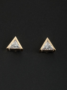 White Triangle Studs Earring with Gold Plated Zircon
