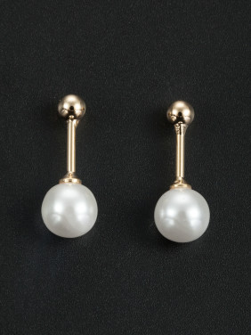 A Gold Plated Stylish Pearl Drop Earring Of Round