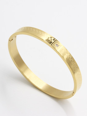 Stainless steel  Zircon Gold Bangle   63MMX55MM