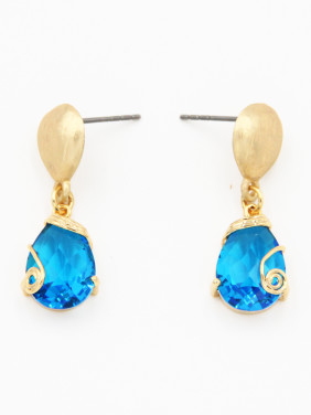 Navy Face Youself ! Rose Plated Zircon  Drop Earring