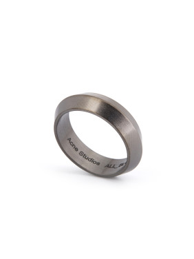 Blacksmith Made Gun Color plated Titanium Round Band Ring