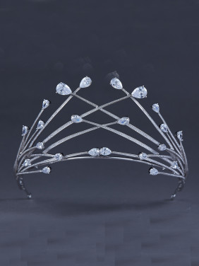 Blacksmith Made Platinum Plated Zircon Personalized Wedding Crown
