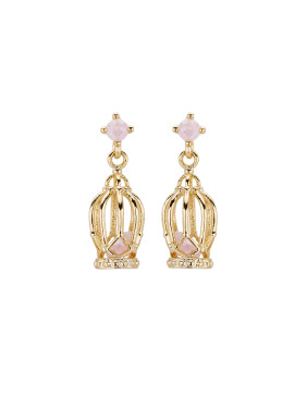 Custom Pink Drop Earring with Gold Plated Copper