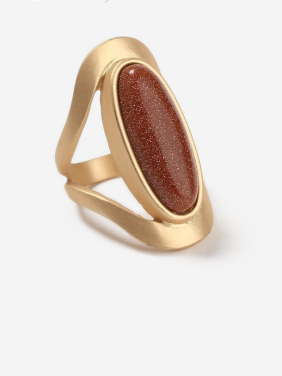 Mother's Initial Gold Band Ring with Statement