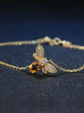 Natural Yellow Crystal Olivine Small Honeybee Bracelet