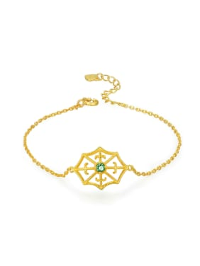 Geometric Shaped 14K Gold Plated with Emerald