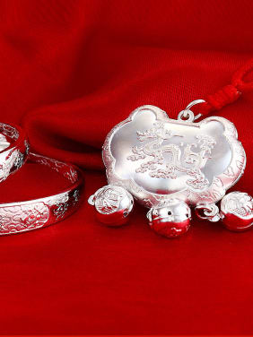 Ethnic style 999 Silver Chinese Dragon Little Bells Children Two Pieces Jewelry Set