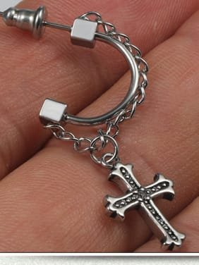 Stainless Steel With Silver Plated Trendy Cross Clip On Earrings