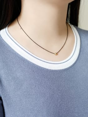 Simple Gold Plated Bead Gun Color Plated Necklace