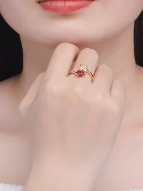 Natural Ruby Cross Noble Opening Ring