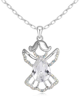 Fashion Water Drop Swarovski Crystal Angel Pendant Alloy Necklace