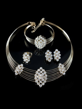 Rhinestones Geometric Four Pieces Jewelry Set