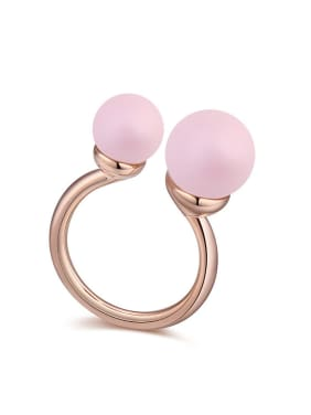 Personalized Imitation Pearls Rose Gold Plated Opening Ring