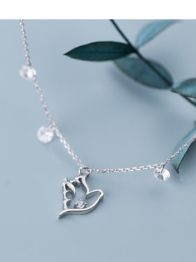 925 Sterling Silver With  Cubic Zirconia Simplistic Hollow pigeon Necklaces