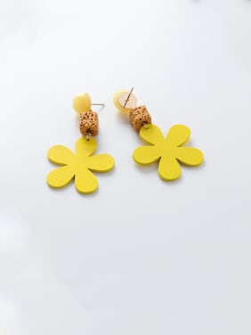 Alloy With Platinum Plated Cute Wood Flower Drop Earrings
