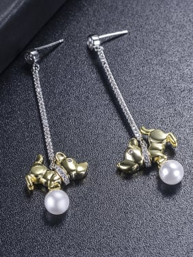 New long puppies pearl earrings cute animal two-color plating
