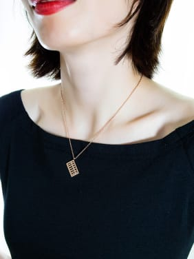 Stainless Steel With Rose Gold Plated Personality Geometric Necklaces