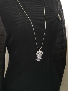 Personalized White Zirconias Owl Copper Sweater Chain