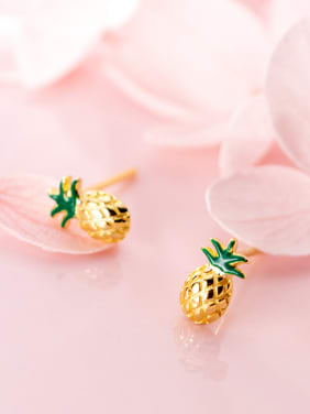 925 Sterling Silver With Gold Plated Cute Pineapple Stud Earrings