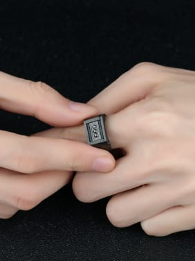 Stainless Steel With Gun Plated Punk Square Men Rings