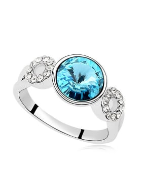 Exquisite Shiny Cubic Swarovski Crystals Alloy Ring