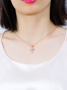 Copper With 18k Rose Gold Plated Trendy Cross Necklaces