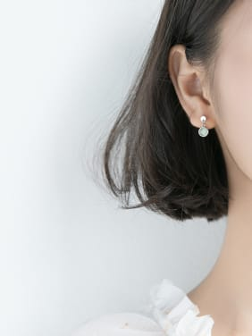 925 Sterling Silver With Platinum Plated Delicate Round Stud Earrings