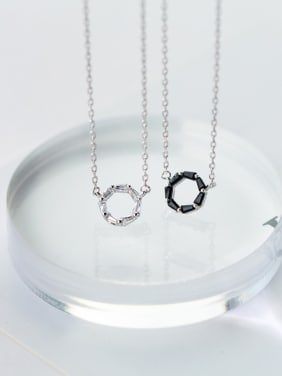 S925 silver round short zircon necklace