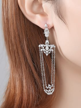 Copper WithCubic Zirconia  Bohemia Irregular Tassel Drop Earrings