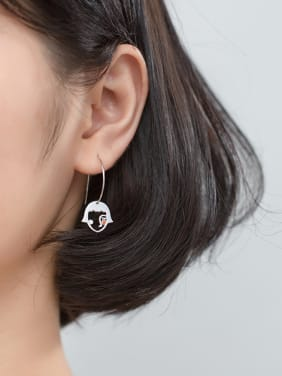 925 Sterling Silver With Platinum Plated Simplistic  Human head Hook Earrings