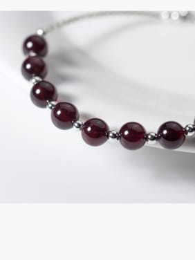 925 Sterling Silver With Silver Plated and garnet Add-a-bead Bracelets