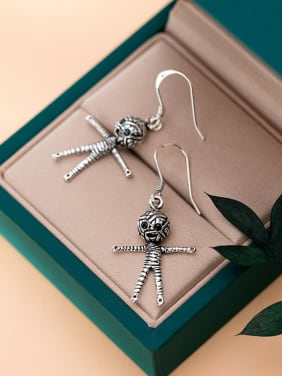 925 Sterling Silver With Antique Silver Plated Skull Doll Hook Earrings
