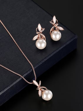 Alloy Rose Gold Plated Fashion Artificial Pearl Two Pieces Jewelry Set