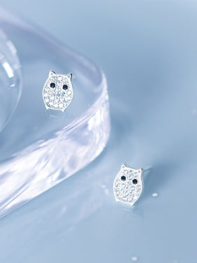 925 Sterling Silver With Silver Plated Cute Owl Stud Earrings