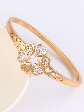 Copper Alloy Rose Gold Plated Fashion Hollow Heart-shaped Artificial Gemstones Bangle