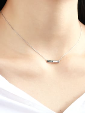 925 Sterling Silver With Shell  Simplistic Geometric letter Necklaces
