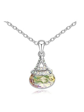 Simple Oval Swarovski Crystal-accented Pendant Alloy Necklace