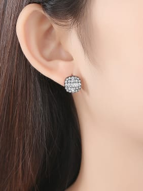 925 Sterling Silver With Antique Silver Plated Personality Geometric Stud Earrings